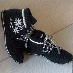 Купить ботиночки женские - чёрно-белый, обувь ручной работы, обувь на заказ, Вязание крючком