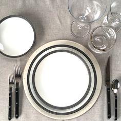 the ARK collection - High end Tabletop rentals. Lunar Snow Charger / Tressé Braided Noir Dinner - Salad - B&B / Black Bistro Flatware / Ojai Goblets / Moonlight Rocks Glass