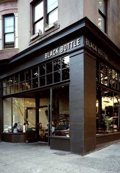 Facade inspo for an office redesign - black bottle coffee shop pub bar, store fronts Cafe Signage, Shop Signage, Design Exterior, Exterior Signage, Cafe Exterior, Black Exterior, Coffee Shop Design, Cafe Design, Design Shop