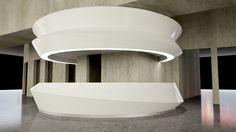 Image result for organic reception desk Reception Counter Design, Curved Reception Desk, Hotel Reception Desk, Lobby Reception, Reception Areas, Info Desk, Shopping Mall Interior, Mall Design, Glass Railing