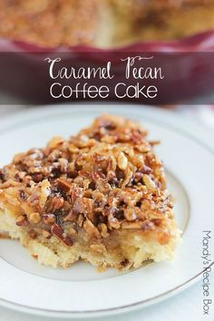 This 1-dish Caramel Pecan Coffee Cake is perfect for your holiday breakfasts. It's like eating a delicious slice of pecan pie for breakfast! And you mix everything up in the pie dish which means less mess to clean up.