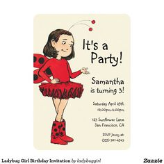 Ladybug Girl Birthday Invitation