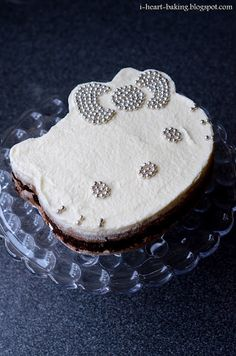 hello kitty triple chocolate mousse cake studded with silver dragees