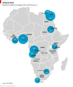 Ten biggest cities in Africa - and quickly growing. Read what it means for the continent: http://www.economist.com/news/21566362-africas-cities-take-centre-stage-huddled-masses
