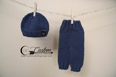 Timmy Blue Newborn Pants Photography Prop with Matching Hat, Baby Boy Props, Newborn Pants, Photo Props, Handmade Clothing, Knit, Button by CustomPhotoProps on Etsy https://www.etsy.com/listing/226662215/timmy-blue-newborn-pants-photography