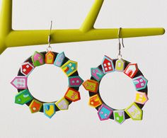 Colorful house clay earrings Statement earrings Big by RainOfJoy