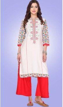 Cotton Fabric Straight Style Readymade Kurtis in White | FH529480016 #kurti, #kurtas, #tunics, #top, #fashion, #clothing, #women, #heenastyle, #ladies, @heenastyle , #teenagers, #girls, #style, #mode, #mehendi, #longtop, #readymade , #boutique, #cotton, #casual, #formal, #indian, #straight