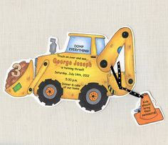 20 Construction Birthday Party Invitations -  Handcut & Personalized
