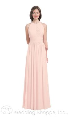A stunning soft pink bridesmaid dress with a high neckline and gorgeous back detail.