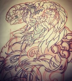 35 Ideas Tattoo Sleeve Sketch Design Tat For 2019 Japanese Phoenix Tattoo, Japanese Tattoo Artist, Wolf Tattoos, Body Art Tattoos, Sleeve Tattoos, Black Dragon Tattoo, Amsterdam Tattoo, Samurai, Phoenix Tattoo Design