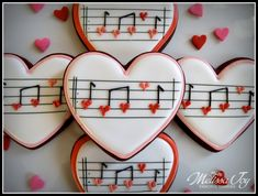 You make my heart sing!-Valentine Music Cookies by Melissa Joy : You make my heart sing!-Valentine Music Cookies by Melissa Joy Valentine's Day Sugar Cookies, Fancy Cookies, Cute Cookies, Cupcake Cookies, Cookie Favors, Flower Cookies, Iced Cookies, Easter Cookies, Valentines Day Cookies
