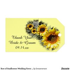 Row of Sunflowers Wedding Favor Tags Pack Of Gift Tags