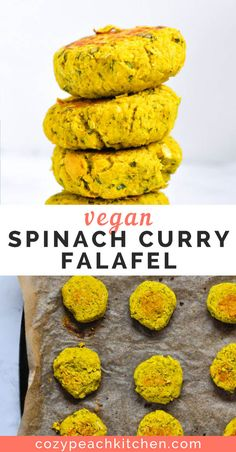 This baked spinach falafel takes just a few minutes of prep and is loaded with aromatic curry flavors. It's perfect as a sandwich stuffer or on a salad. Vegetarian Meal Prep, Vegetarian Recipes, Healthy Recipes, Burger Recipes, Easy Bean Recipes, Peach Kitchen, Spinach Curry, Vegan Curry, Vegan Dishes