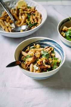 Roasted Garlic and Cauliflower Pasta with Walnuts