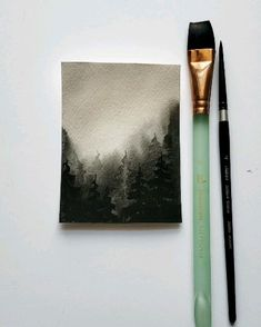 Easy watercolor misty forest Watercolor Video, Watercolor Painting Techniques, Watercolor Landscape Paintings, Watercolour Tutorials, Painting Videos, Gouache Painting, Watercolor Trees, Watercolor Artists, Watercolor Portraits