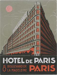 Vintage luggage label: Hotel de Paris, Paris (135mm × 102mm) via typeasimage, Flickr
