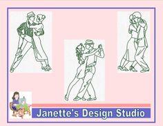 Machine Embroidery Design Set of 14 Redwork Tango Dancers Size Embroidery Designs For Sale, Machine Embroidery Designs, Tango Dancers, Blue Words, Design Set, Fashion Sewing, Design Files, 4x4, Hoop
