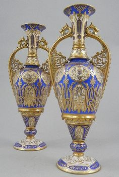 A pair of vases Russian Nicholas II twin handled - late century - circular foot, decorated panels and cartouches, with gilding and fleur-de-lis, over blue and white ground. by Lu Janis Decoration Table, Vases Decor, Art Decor, Decorations, Porcelain Vase, Fine Porcelain, Antique China, Antique Vases, Russian Art
