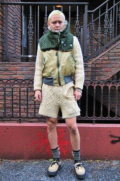 Cable knit suit via rid snap
