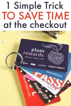 Tired of searching for the right gift card or reward card at the check out? Keep your cards organized and easily accessible with this time-saving trick!  (I figure you could also use a binder ring instead of a key ring for gift cards so they're easier to get off when they're empty)