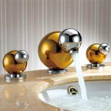 """Gold Messing Bad Becken Wasserhahn Griffe Heiß Kalt Waschtischarmatur Wasserhahn Deck Montiert 4 """"Minispread torneira para banheiro(China (Mainland))"""