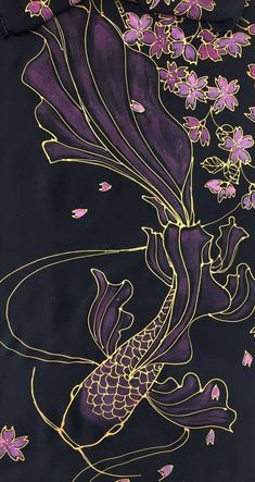 Koi Fish Discover Silk Scarf Black Koi Scarf Hand painted Silk Scarf Japan Scarf Koi Art Pink Koi fish and Cherry Blossom Takuyo Made to order Koi Fish Drawing, Fish Drawings, Art Drawings, Koi Painting, Fabric Painting, Black Painting, Glass Painting Patterns, Japan Painting, Art Koi