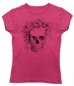 Women's Floral Skull T-Shirt - Juniors Fit