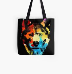 Cool Husky dog animal print tote bag. Watercolor art work for Siberian Husky lovers. Animal Print Tote Bags, Beagle Art, Dog Artwork, Husky Dog, Kawaii Cat, Cat Dad, Cute Pugs, Cat Colors, Baby Owls
