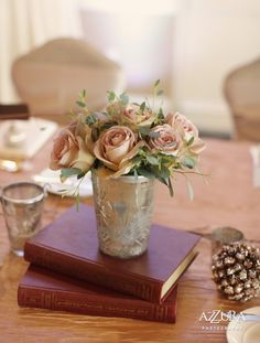 wedding centerpieces, silver, eucalyptus with roses