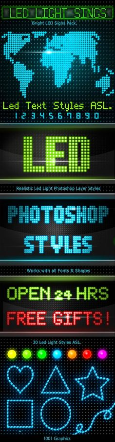 30 Realistic Led Signs Text Styles — Layered PSD #led psd #lighted bar signs • Available here → https://graphicriver.net/item/30-realistic-led-signs-text-styles/14449035?ref=pxcr