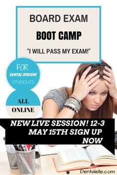 Dental Hygiene LIVE Board Exam Boot Camp. Full Prep for the Canadian and American Dental Hygiene Exam. 3 Hours LIVE and full mock exams, case studies included. Click here for my details!