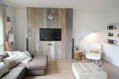 steigerhout muur- tv mount. For the kitchen back wall with a latin tile backsplash.