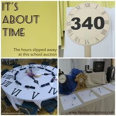 "School auction bid paddles using a ""time"" theme. Also love the clock section in the silent auction. Auction Bid, School Auction, Auction Ideas, Silent Auction, Paddles, Non Profit, Fundraising, Benefit"