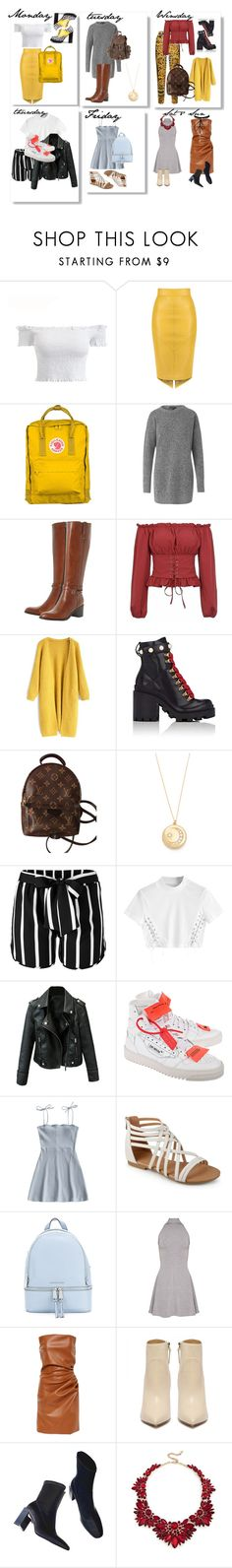 """""""OOED (outfit of each day)"""" by nikolayva ❤ liked on Polyvore featuring Fjällräven, Dune Black, Chicwish, Gucci, Louis Vuitton, Sasha Samuel, Venus, Off-White, MICHAEL Michael Kors and Sole Society"""