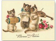 sweet vintage print of the 3 little kittens