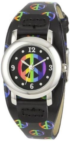 Frenzy Kids' FR274 Round Peace Black Strap Watch FRENZY. $14.99. All-over multi-colored peace sign prints on black pu strap. Stainless steel case back. Arabic numbers 12, 3, 6, 9 and dots as markers embossed on a black dial with multi-colored peace sign print on center. Mineral crystal. 3-hand analog Quartz movement