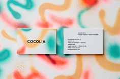 cocolia business cards. like the use of type. bold face font used throughout.