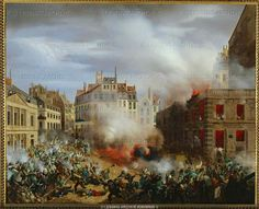 Revolution of the revolutionaries try to storm the Palais Royal; because of the fierce resistance of the garrison, they set fire to the palace water tower. Many defenders die asphyxiated; the others surrender. Canvas, x 73 cm Palais Royal, Le Palais, Paris France, Museum Paris, The Garrison, Second Empire, Water Tower, Modern History, Images