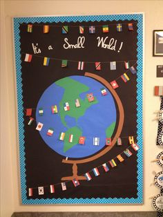 Postcards are coming from around the world for the geography unit. Here is where they will go. Flags from a Pinterest pin.