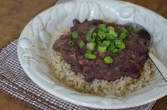 This red beans and rice recipe takes time to simmer, but it's worth it in the end. Just a few dollars worth of dried beans and brown rice can go a long way.