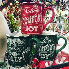 Tidings of comfort and joy, comfort and joy... In a mug! $6.99 each! #happyholidays #seasontobejolly #holidays #holidaymugs #shoplocal #shopsmall #indy #indianapolis #florist #mcnamara