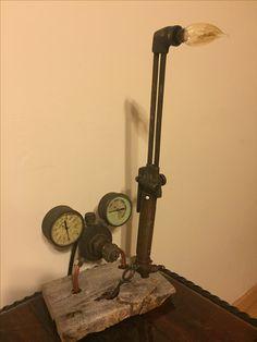 Repurposed Presto-weld torch and Victor regulator lamp
