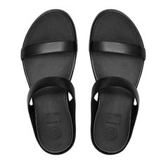 1f3a374bb3ff5e FitFlop Banda™ Leather Slide Sandals ( 56) ❤ liked on Polyvore featuring  shoes