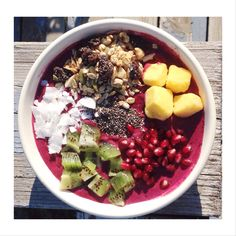"Smoothie Bowl with homemade muesli, kiwi, pomegranate, pineapple, & coconut flakes.                     FIT & FABLOUS #fitness #inspiration #quotes #yoga #motivation #healthy ""#quotes #motovation #instaquote #love #inspiration #fitspo #fit #fitness #healthy #health #cleaneating #motivate #hardwork #goals #swag #nevergiveup #gym"