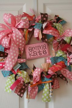 No-Sew DIY Baby and Toddler Gifts ribbon wreath to decorate a little girl's room, perfect to put on her door!ribbon wreath to decorate a little girl's room, perfect to put on her door! Kids Crafts, Cute Crafts, Diy And Crafts, Craft Projects, Arts And Crafts, Craft Ideas, Diy Ideas, Fabric Wreath, Diy Wreath