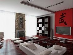 Asian Themed Living Room with an Original Furniture Solution