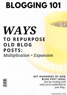 You'd never guess how many DIFFERENT ways there are to use the blog posts already published on your blog. It's just a little something I'm talking about in … Ways to Repurpose Old Blog Posts: Multiplication + Expansion > ukwordgirl.com [#blogrepurpose #socialmediamarketing #fashionblogs #blogpromotion] Wordpress For Beginners, Blogging For Beginners, Blog Writing, Writing Tips, Writing Process, News Blog, Blog Tips, Entrepreneur, Blog Online
