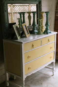 painted dresser - yellow and white The Modern Cottage Company