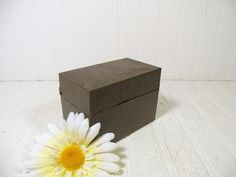 Small Shabby Dark Green Metal 5 x 3 Box  Vintage by DivineOrders
