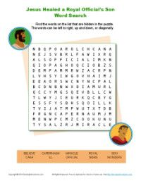 Jesus Healed a Royal Official's Son Word Search | Bible Activities for Children